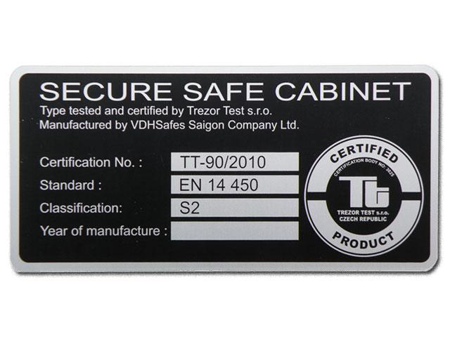 Elke GTS-E S2 kluis is voorzien van een certificaat klasse S2 EN 14450