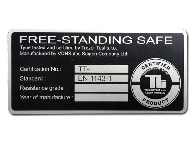 Elke VDH-1-E kluis is voorzien van een certificaat klasse EN 1143-1